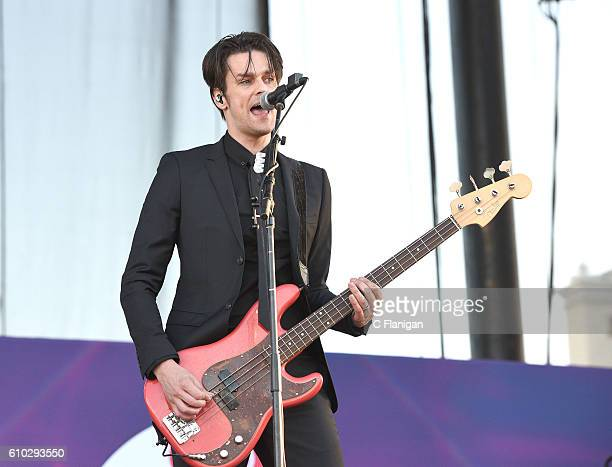 Musician Dallon Weekes of Panic At The Disco performs onstage during the 2016 Daytime Village at the iHeartRadio Music Festival at the Las Vegas...