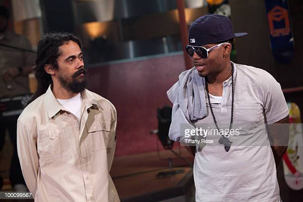 Musician Damian 'Jr Gong' Marley and recording artist Nas attend Fuel TV's 'The Daily Habit' on May 20 2010 in Los Angeles California