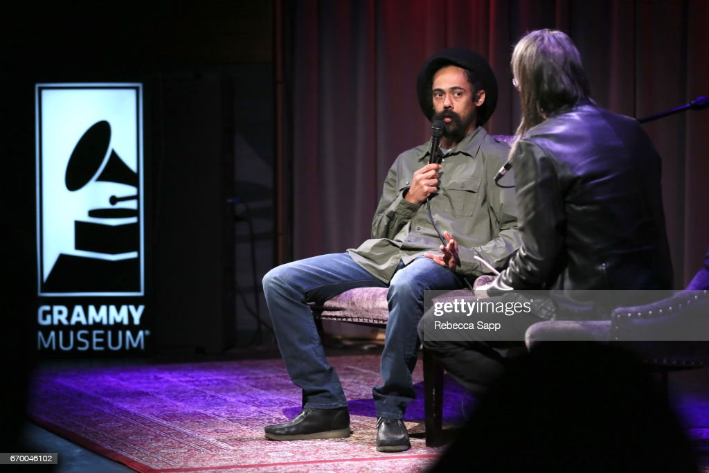 Musician Damian 'Jr. Gong' Marley speaks with Executive Director of the GRAMMY Museum Scott Goldman at A Conversation With Damian 'Jr. Gong' Marley at The GRAMMY Museum on April 18, 2017 in Los Angeles, California.