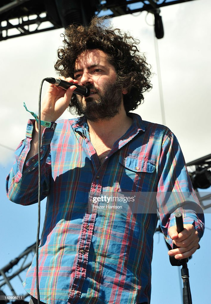 Musician Dan Bejar of the band Destroyer performs during Day 2 of the 2012 Coachella Valley Music Arts Festival held at the Empire Polo Club on April...