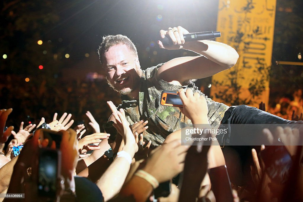 Musician <a gi-track='captionPersonalityLinkClicked' href=/galleries/search?phrase=Dan+Reynolds&family=editorial&specificpeople=8995077 ng-click='$event.stopPropagation()'>Dan Reynolds</a> of Imagine Dragons performs on the Marilyn Stage during day 1 of the 2014 Budweiser Made in America Festival at Los Angeles Grand Park on August 30, 2014 in Los Angeles, California.