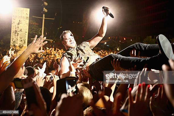 Musician Dan Reynolds of Imagine Dragons performs on the Marilyn Stage during day 1 of the 2014 Budweiser Made in America Festival at Los Angeles...