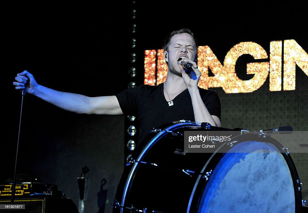 Musician Dan Reynolds of the band 'Imagine Dragons' performs onstage during Universal Music Group Showcase '13 at Lure on February 9, 2013 in Hollywood, California.