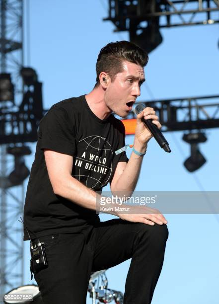 Musician Dan Smith of Bastille performs on the Outdoor stage during day 2 of the Coachella Valley Music And Arts Festival at the Empire Polo Club on...