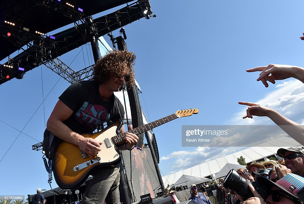 Musician Dane Kinser performs onstage with singer RaeLynn during 2016 Stagecoach California's Country Music Festival at Empire Polo Club on May 01, 2016 in Indio, California.