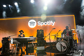 Musician D'Angelo plays a private concert at a media event announcing updates to the music streaming application Spotify on May 20 2015 in New York...