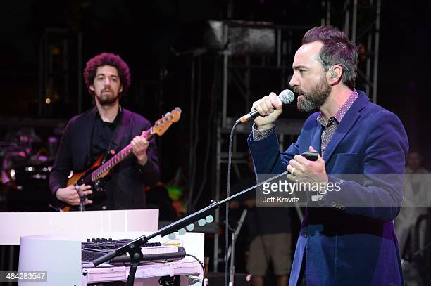 Musician Danger Mouse performs with musician James Mercer of Broken Bells onstage during day 1 of the 2014 Coachella Valley Music Arts Festival at...