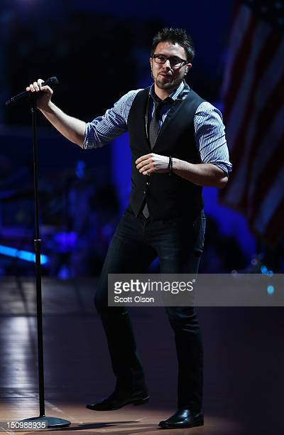Musician Danny Gokey performs during the third day of the Republican National Convention at the Tampa Bay Times Forum on August 29 2012 in Tampa...