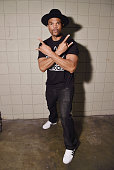 Musician Darryl 'DMC' Matthews McDaniels poses for portrait after the 'I'm DMC I Can Draw' at Jacob Javitz Center on October 10 2014 in New York City