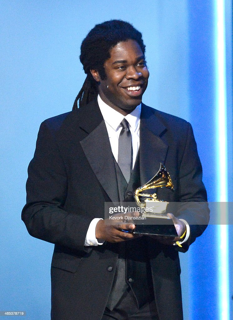 Musician Dashon Burton of Roomful of Teeth accepts the Best Chamber Music/Small Ensemble Performance award for 'Roomful of Teeth' onstage during the 56th GRAMMY Awards Pre-Telecast Show at Nokia Theatre L.A. Live on January 26, 2014 in Los Angeles, California.