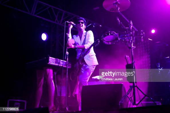 Musician Dave 1 of Chromeo performs at day 3 of the 2011 Coachella Valley Music Arts Festival at The Empire Polo Club on April 17 2011 in Indio...