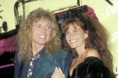 Musician Dave Coverdale of Whitesnake and model/actress Tawny Kitaen attend the Fifth Annual MTV Video Music Awards on September 7 1988 at Universal...