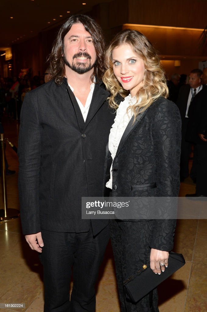 Musician <a gi-track='captionPersonalityLinkClicked' href=/galleries/search?phrase=Dave+Grohl&family=editorial&specificpeople=202539 ng-click='$event.stopPropagation()'>Dave Grohl</a> (L) and <a gi-track='captionPersonalityLinkClicked' href=/galleries/search?phrase=Jordyn+Blum&family=editorial&specificpeople=828157 ng-click='$event.stopPropagation()'>Jordyn Blum</a> arrive at the 55th Annual GRAMMY Awards Pre-GRAMMY Gala and Salute to Industry Icons honoring L.A. Reid held at The Beverly Hilton on February 9, 2013 in Los Angeles, California.