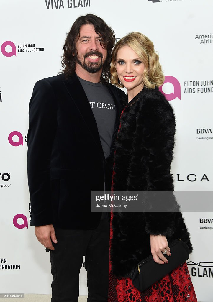 Musician Dave Grohl (L) and Jordyn Blum attend the 24th Annual Elton John AIDS Foundation's Oscar Viewing Party at The City of West Hollywood Park on February 28, 2016 in West Hollywood, California.