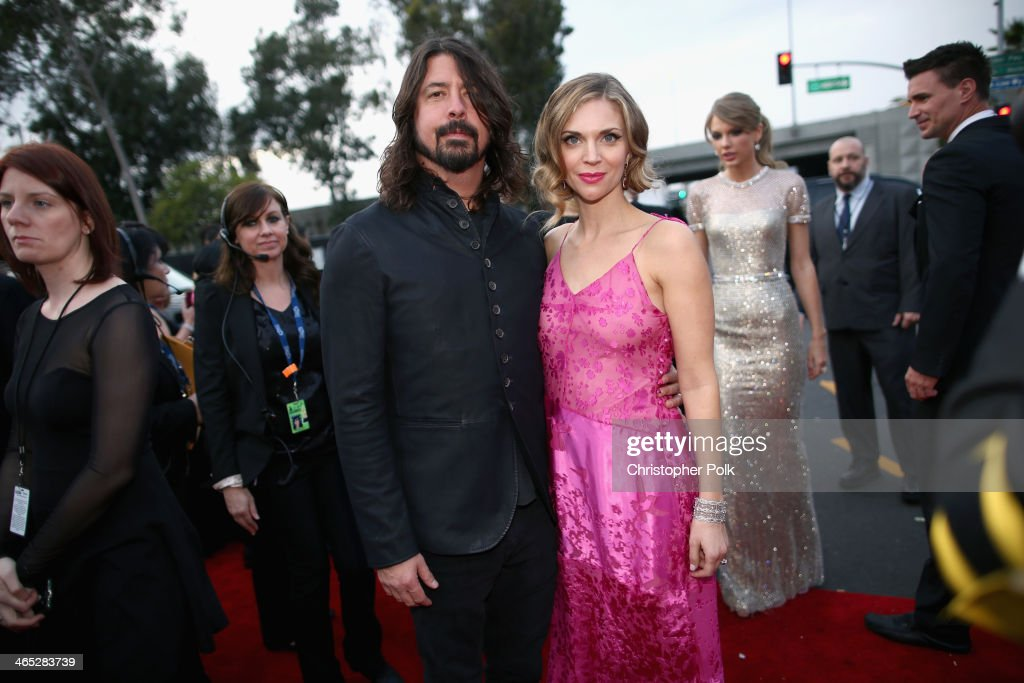 Musician Dave Grohl and Jordyn Blum attend the 56th GRAMMY Awards at Staples Center on January 26, 2014 in Los Angeles, California.