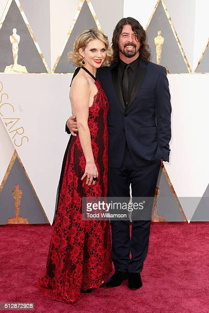 Musician Dave Grohl and Jordyn Blum attend the 88th Annual Academy Awards at Hollywood Highland Center on February 28 2016 in Hollywood California