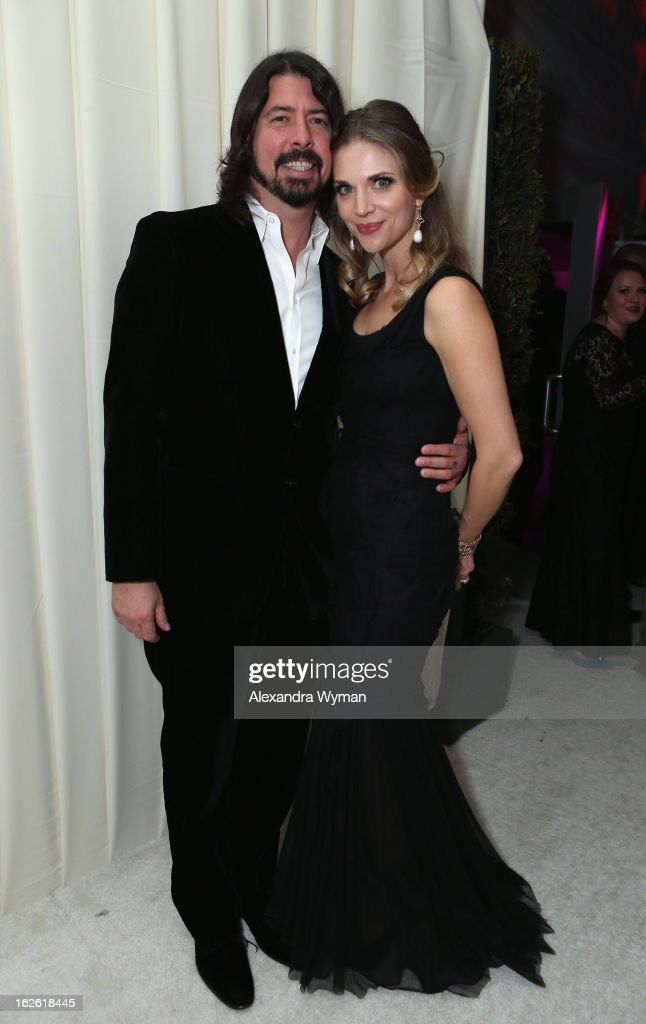 Musician Dave Grohl (L) and Jordyn Blum Grohl attend Grey Goose at 21st Annual Elton John AIDS Foundation Academy Awards Viewing Party at West Hollywood Park on February 24, 2013 in West Hollywood, California.