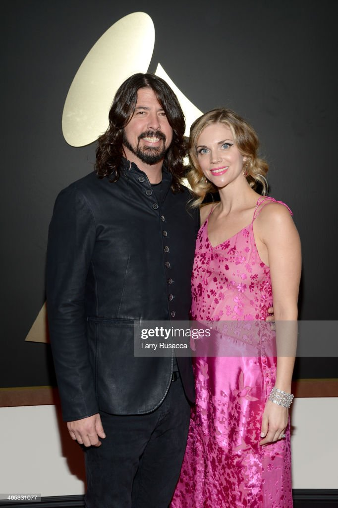 Musician <a gi-track='captionPersonalityLinkClicked' href=/galleries/search?phrase=Dave+Grohl&family=editorial&specificpeople=202539 ng-click='$event.stopPropagation()'>Dave Grohl</a> and model <a gi-track='captionPersonalityLinkClicked' href=/galleries/search?phrase=Jordyn+Blum&family=editorial&specificpeople=828157 ng-click='$event.stopPropagation()'>Jordyn Blum</a> attend the 56th GRAMMY Awards at Staples Center on January 26, 2014 in Los Angeles, California.