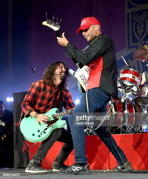 Musician Dave Grohl joins musician Tom Morello of Prophets of Rage onstage at the Forum on September 15 2016 in Inglewood California