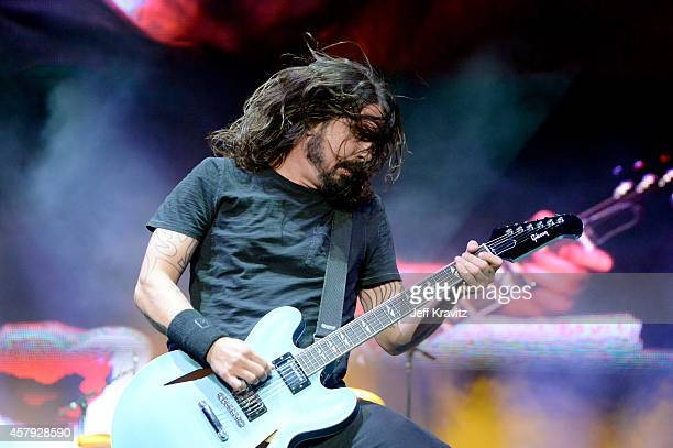 Musician Dave Grohl of Foo Fighters performs onstage during day 3 of the 2014 Life is Beautiful festival on October 26 2014 in Las Vegas Nevada
