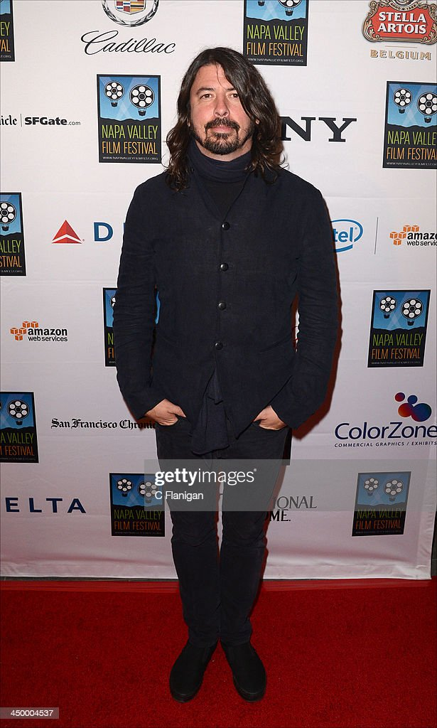 Musician <a gi-track='captionPersonalityLinkClicked' href=/galleries/search?phrase=Dave+Grohl&family=editorial&specificpeople=202539 ng-click='$event.stopPropagation()'>Dave Grohl</a> of The Foo Fighters arrives at the Napa Valley Film Festival Celebrity Tribute on November 15, 2013 in Napa, California.