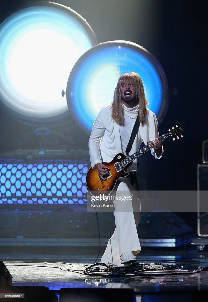 Musician Dave Grohl performs onstage during the 28th Annual Rock and Roll Hall of Fame Induction Ceremony at Nokia Theatre L.A. Live on April 18, 2013 in Los Angeles, California.