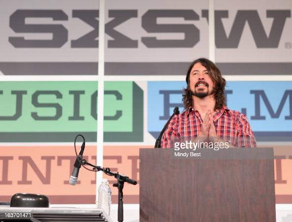 Musician Dave Grohl speaks onstage at SXSW Keynote Dave Grohl during the 2013 SXSW Music Film Interactive Festival at Austin Convention Center on...