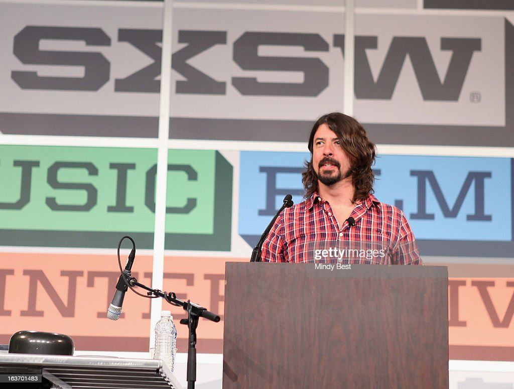 Musician <a gi-track='captionPersonalityLinkClicked' href=/galleries/search?phrase=Dave+Grohl&family=editorial&specificpeople=202539 ng-click='$event.stopPropagation()'>Dave Grohl</a> speaks onstage at SXSW Keynote: <a gi-track='captionPersonalityLinkClicked' href=/galleries/search?phrase=Dave+Grohl&family=editorial&specificpeople=202539 ng-click='$event.stopPropagation()'>Dave Grohl</a> during the 2013 SXSW Music, Film + Interactive Festival at Austin Convention Center on March 14, 2013 in Austin, Texas.