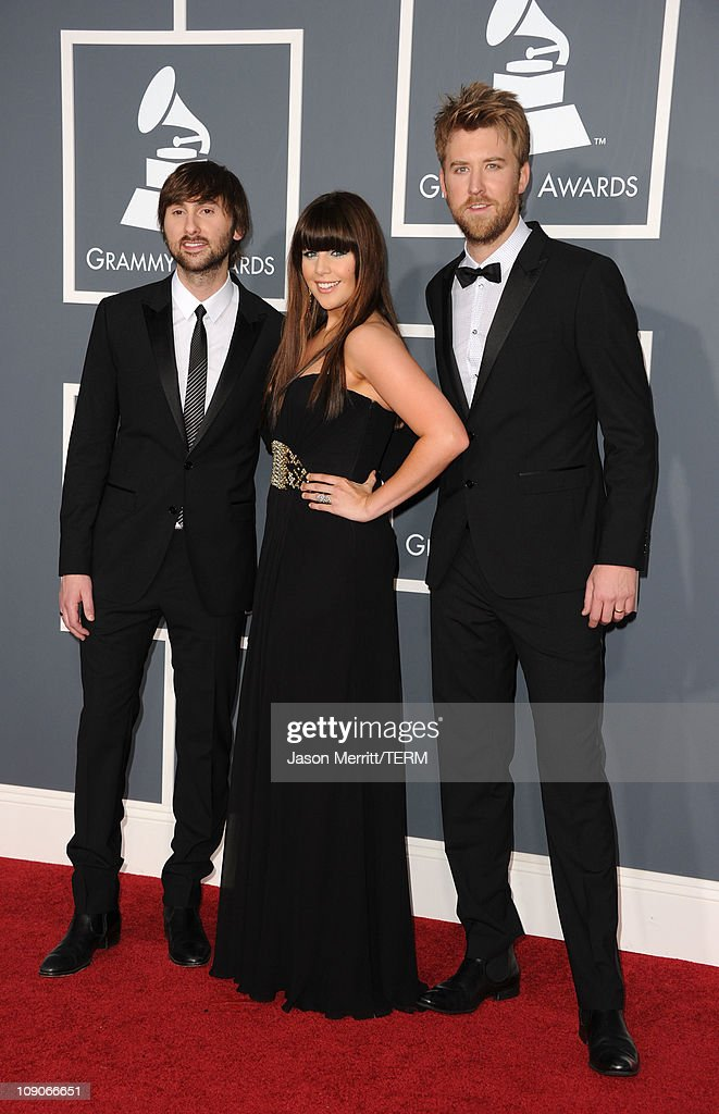 Musician <a gi-track='captionPersonalityLinkClicked' href=/galleries/search?phrase=Dave+Haywood&family=editorial&specificpeople=4620526 ng-click='$event.stopPropagation()'>Dave Haywood</a>, Singer Hillary Scott and musician <a gi-track='captionPersonalityLinkClicked' href=/galleries/search?phrase=Charles+Kelley&family=editorial&specificpeople=3935435 ng-click='$event.stopPropagation()'>Charles Kelley</a> of the band Lady Antebellum arrive at The 53rd Annual GRAMMY Awards held at Staples Center on February 13, 2011 in Los Angeles, California.