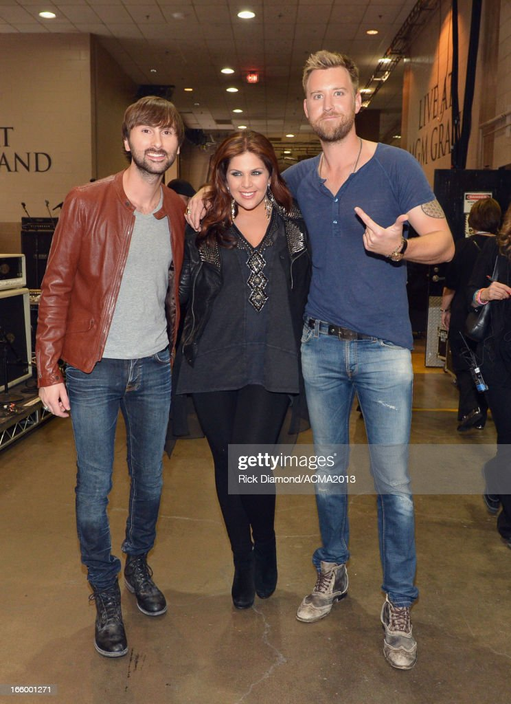 Musician Dave Haywood, singer Hillary Scott and musician Charles Kelley of Lady Antebellum attend the 48th Annual Academy of Country Music Awards at the MGM Grand Garden Arena on April 7, 2013 in Las Vegas, Nevada.