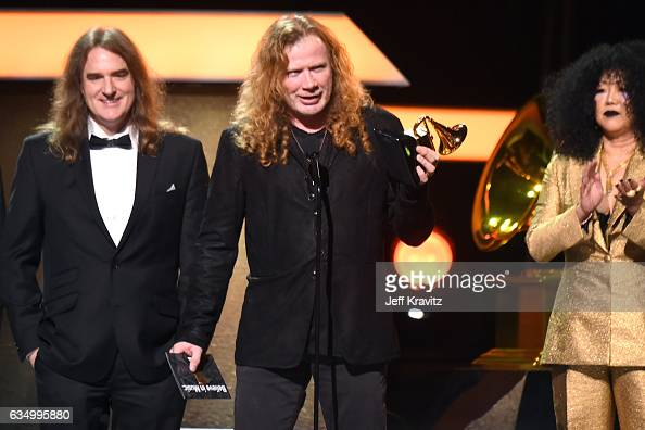 Musician Dave Mustaine and fellow members of Megadeth accept the Best Metal Performance award for 'Dystopia' onstage at the Premiere Ceremony during...