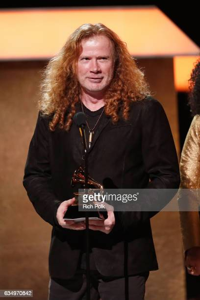 Musician Dave Mustaine of Megadeth accepts the Best Metal Performance award for 'Dystopia' onstage at the Premiere Ceremony during the 59th GRAMMY...