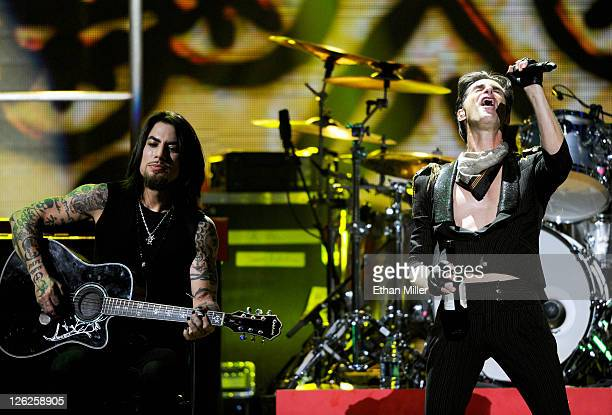 Musician Dave Navarro and singer Perry Farrell of the band Jane's Addiction perform onstage at the iHeartRadio Music Festival held at the MGM Grand...