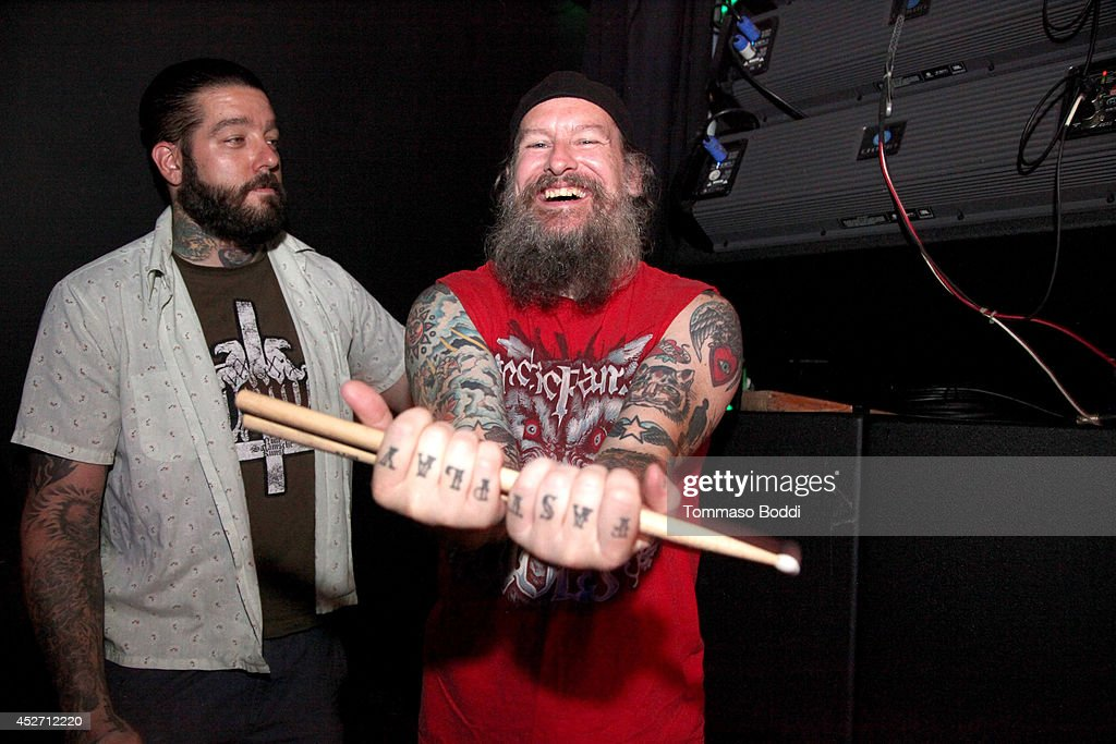 Musician <a gi-track='captionPersonalityLinkClicked' href=/galleries/search?phrase=Dave+Witte&family=editorial&specificpeople=5733631 ng-click='$event.stopPropagation()'>Dave Witte</a> (R) of Municipal Waste performs at the Pabst Blue Ribbon and DoLA present Municipal Waste: A Nuclear Keg Party held at the Echoplex on July 25, 2014 in Los Angeles, California.