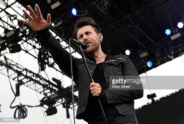 Musician Davey Havok of AFI performs onstage during day 1 of the 2014 Coachella Valley Music Arts Festival at the Empire Polo Club on April 18 2014...