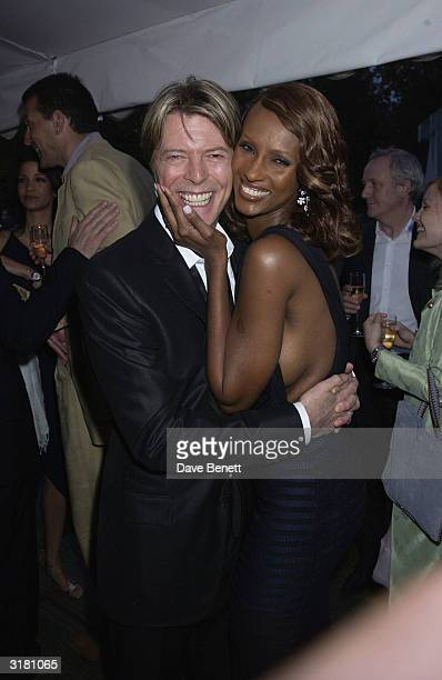 Musician David Bowie and his wife Model Iman at the Serpentine Gallery Summer Party held at the Serpentine GalleryLondonEngland on the 10th of July...