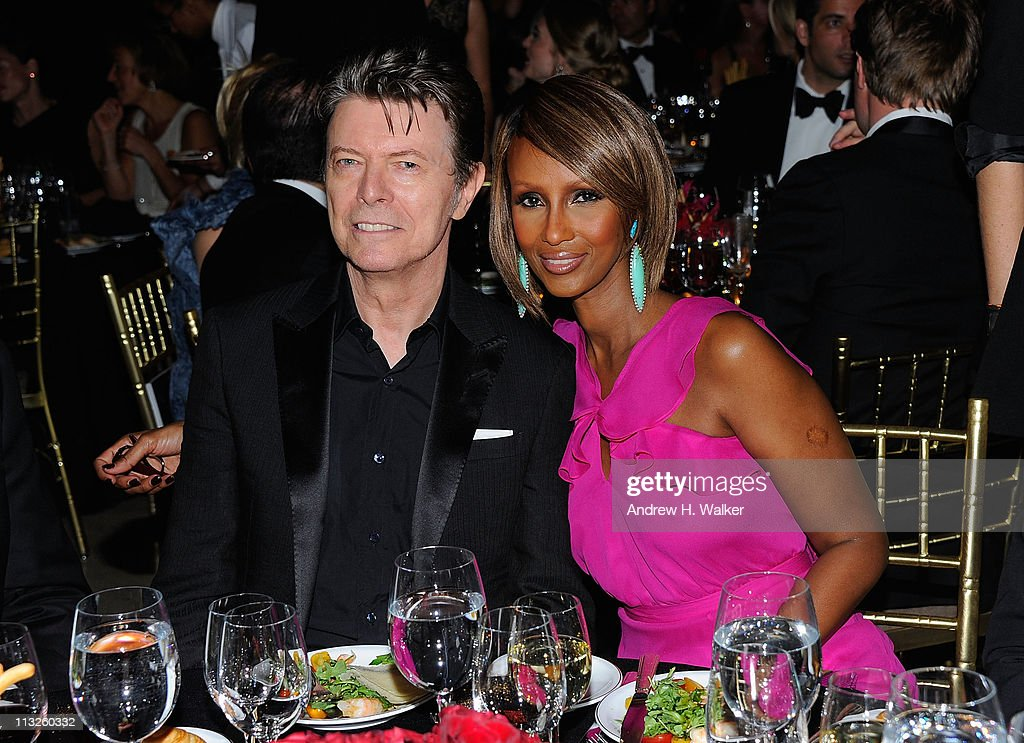 Musician <a gi-track='captionPersonalityLinkClicked' href=/galleries/search?phrase=David+Bowie&family=editorial&specificpeople=171314 ng-click='$event.stopPropagation()'>David Bowie</a> and supermodel <a gi-track='captionPersonalityLinkClicked' href=/galleries/search?phrase=Iman+-+Fashion+Model&family=editorial&specificpeople=132463 ng-click='$event.stopPropagation()'>Iman</a> attend the DKMS' 5th Annual Gala: Linked Against Leukemia honoring Rihanna & Michael Clinton hosted by Katharina Harf at Cipriani Wall Street on April 28, 2011 in New York City.