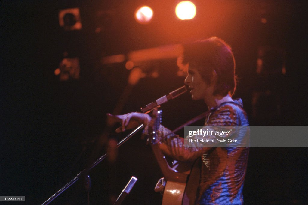 Musician David Bowie making his US debut performs at Carnegie Hall on September 28 1972 in New York City New York