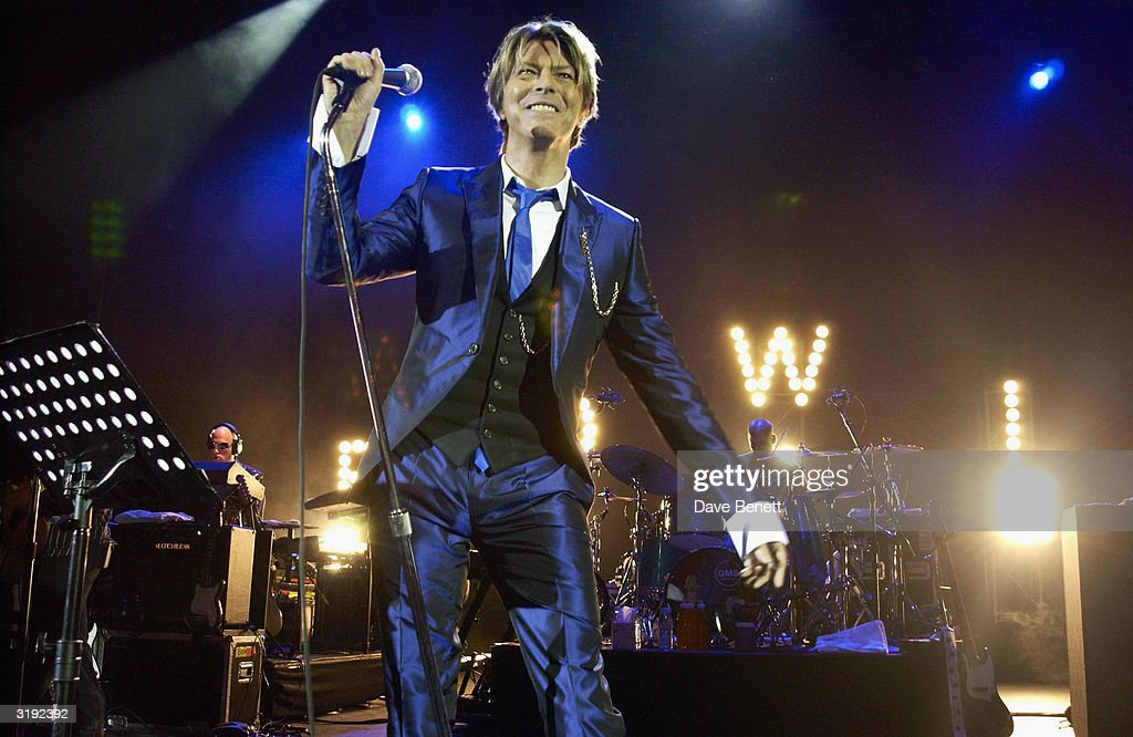Musician David Bowie performes live on January 3rd, 2002 at Hammersmith Apollo, London.