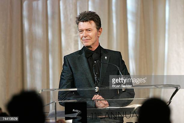 Musician David Bowie speaks onstage while accepting the Webby Lifetime Achievement award at the 11th Annual Webby Awards at Chipriani Wall Street on...