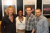Musician David Bryan actress Montego Glover actor Chad Kimball and playwright Joe DiPietro visit Barnes Noble Lincoln Triangle with the cast of...