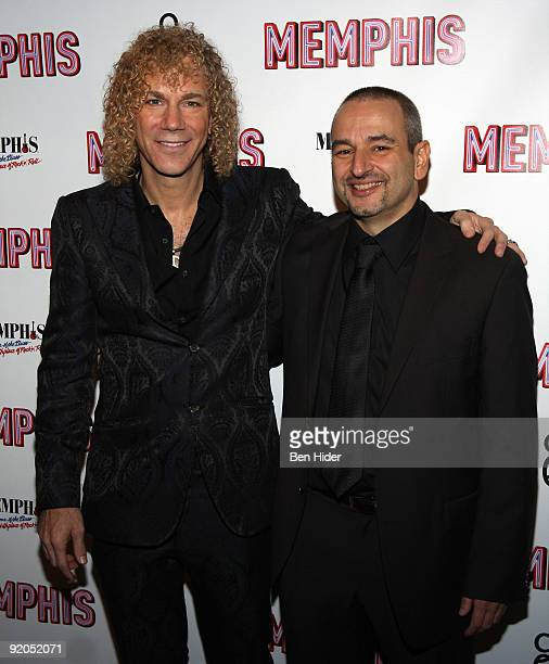Musician David Bryan and author Joe DiPietro attend the opening night party for 'Memphis' on Broadway at Hard Rock Cafe Times Square on October 19...