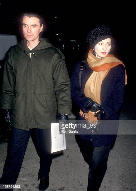 Musician David Byrne of Talking Heads and wife Adelle Lutz attend 'The Dead' New York City Premiere on December 16 1987 at City Cinemas Cinema 1 in...