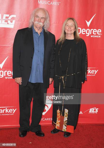 Musician David Crosby and Jan Dance attend 2014 MusiCares Person Of The Year Honoring Carole King at Los Angeles Convention Center on January 24 2014...