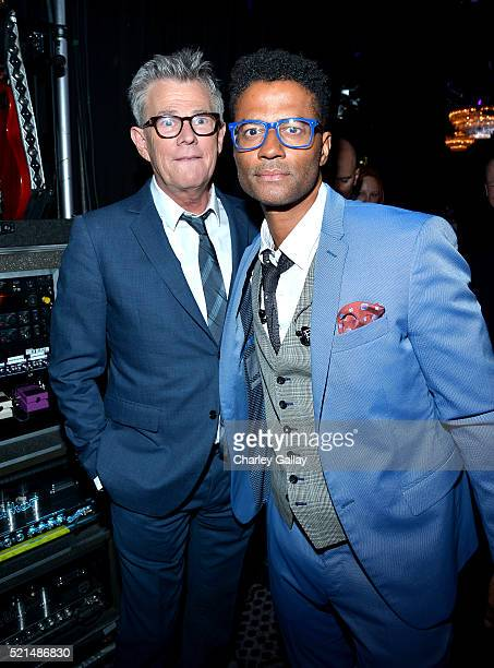 Musician David Foster and singer Eric Benet pose backstage at the 23rd Annual Race To Erase MS Gala at The Beverly Hilton Hotel on April 15 2016 in...