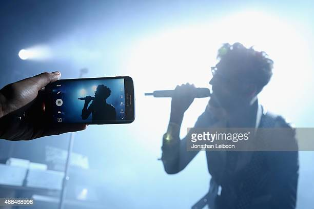 Musician David Macklovitch of Chromeo performs during the Samsung Galaxy S 6 edge launch on April 2 2015 in Los Angeles California