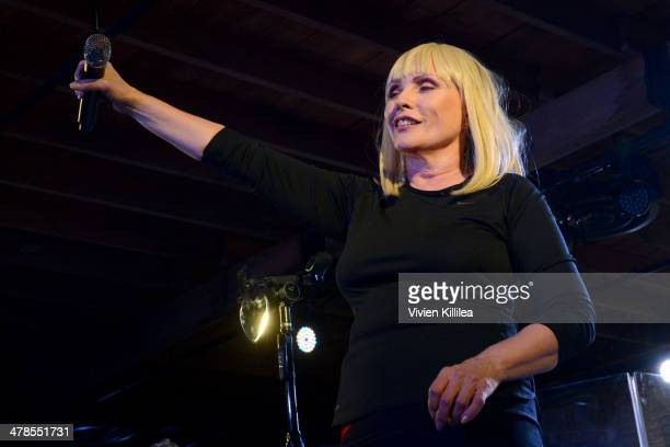 Musician Debbie Harry performs onstage at Smithsonian Channel presents Blondie Powered by Yahoo Live from SXSW on March 13 2014 in Austin Texas