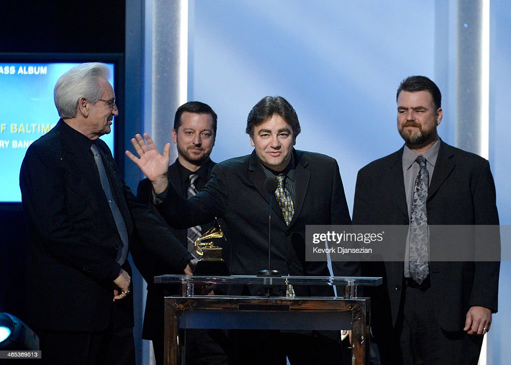 Musician Del McCoury and the Del McCoury Band accept Best Bluegrass Album for 'The Streets Of Baltimore' onstage during the 56th GRAMMY Awards Pre-Telecast Show at Nokia Theatre L.A. Live on January 26, 2014 in Los Angeles, California.