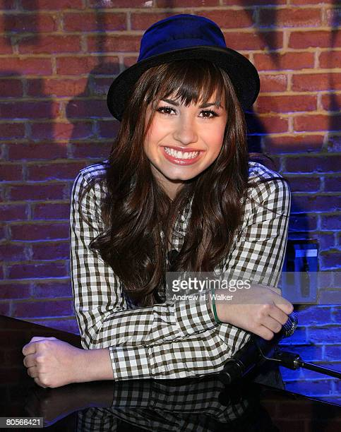 Musician Demi Lovato attends her Disney Upfront presentation on April 8 2008 in New York City