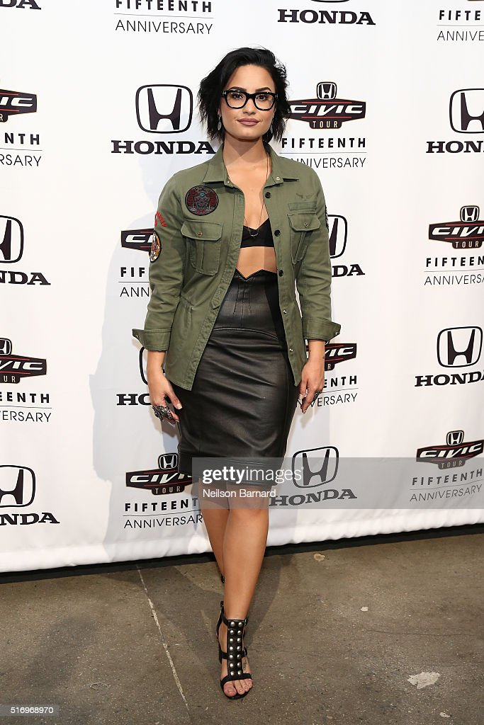 Musician Demi Lovato attends the 2016 Honda Civic Tour Artists Announcement and Honda Civic North America Launch Event at the Garage on March 22, 2016 in New York City.